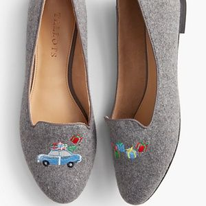 Talbots gray felted 'Ryan' embroidered car loafers